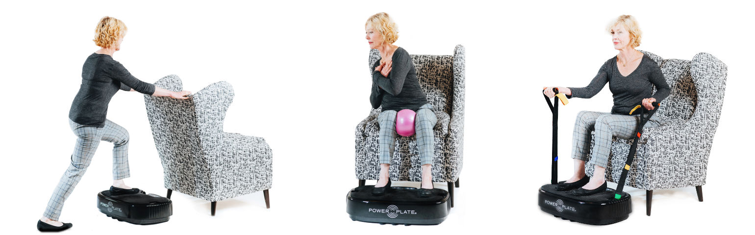 Power Plate mobile exercices positions 3 seniors